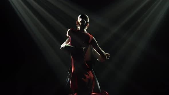 Dark Silhouettes of Professional Ballroom Dancers Dancing Argentine Tango in a Dark Studio with