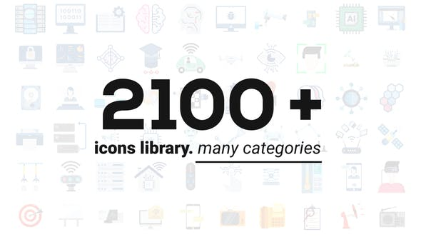 Thumbnail for 2100+ Animated Icons Library