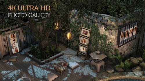 Photo Gallery in a Garden at Night