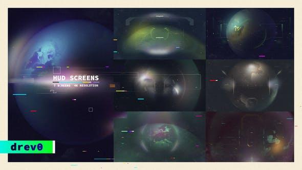Écrans HUD/ Affichage de l'UI/Interface science-fiction Fit/ FUI/ Titles Hi-Tech, Planète Terre, Vue Drone, Future/ TV