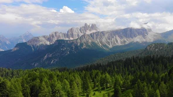 Croda Da Lago Ridge in Dolomites Mountains. Drone video in beautiful Italian Dolomites Mountains