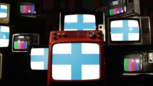 Flag of Marseille, France, on Retro TVs.