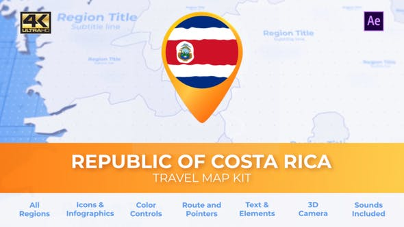 Thumbnail for Costa Rica Map - Republic of Costa Rica Travel Map