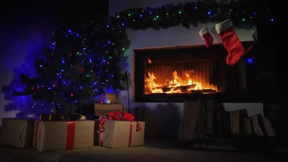 Cover Image for Fireplace Decorated for Christmas and Gift Socks Above It
