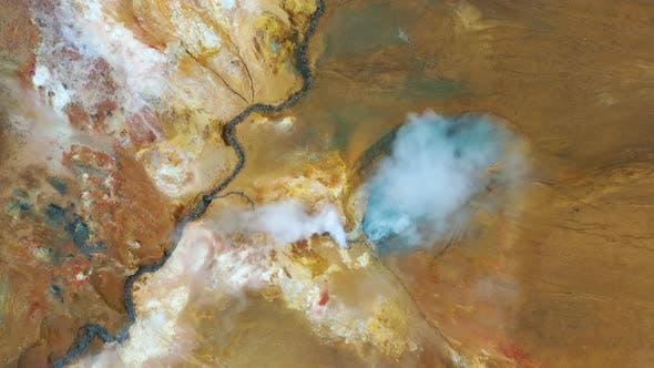 Thumbnail for Aerial view on the Iceland. Aerial landscape above river in the geysers valley