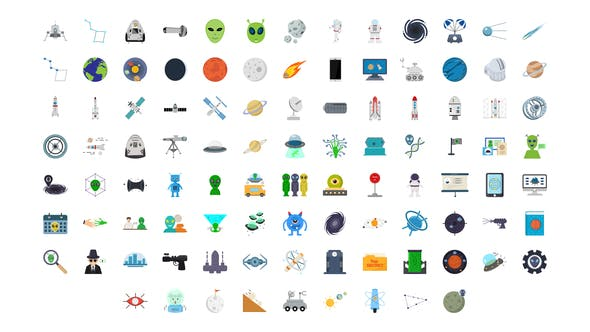 Thumbnail for 100 Space & Universe Icons