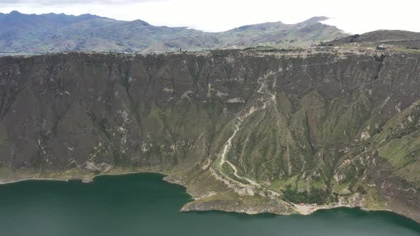 Aerial view showing the crater of the vulcano Quilotoa in Ecuador