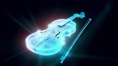 Violin Hologram Close Up 4k