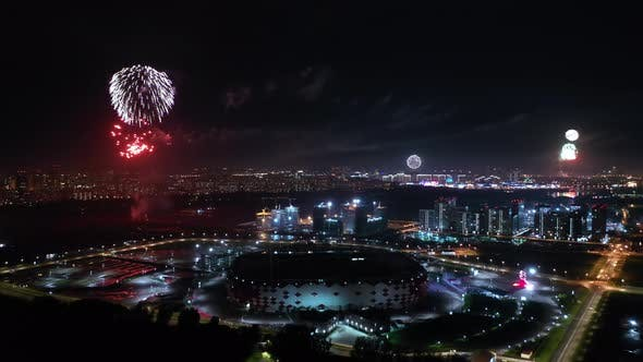 Festive Fireworks over the Night City