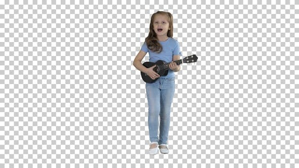 Thumbnail for Little girl singing and playing small, Alpha Channel