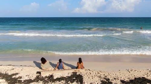 Three Women Relaxing in Tulum Beach Rivera Maya Aerial