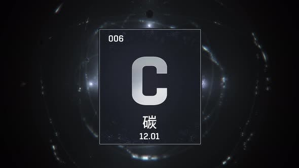 Thumbnail for Carbon as Element 6 of the Periodic Table on Red Background in Chinese Language