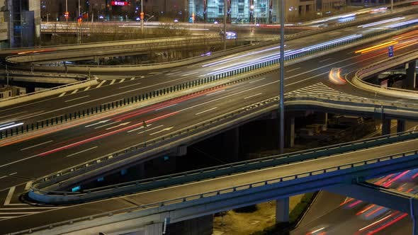 Beijing Night Highway Traffic Aerial Cityscape China Zoom Out