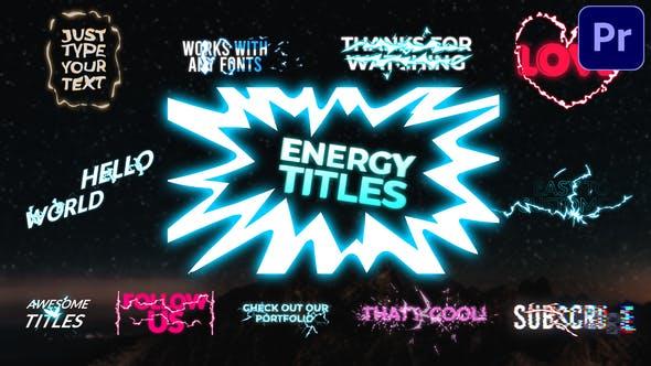 Thumbnail for Energy Titles Pack | Premiere Pro MOGRT
