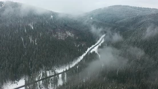 Thumbnail for Aerial View. Scenic Mountain Landscape on a Winter Day, Fog in the Low Areas.