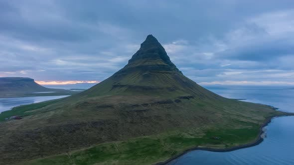 Kirkjufell Mountain in Summer Evening. Iceland. Aerial View