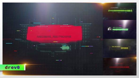 Formité d'onde Audio Numérique/Écrans HUD/Affichage U/Interface science-fiction, Titres Hi-Tech, Visualiseur de musique