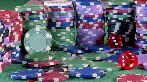 Gambling Money Chips And Red Dices 7