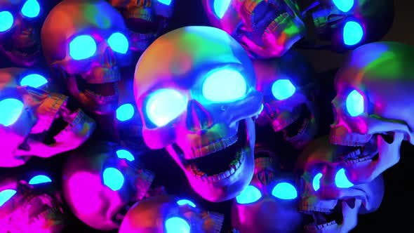 Thumbnail for Neon Skulls With Glowing Eyes Halloween Background