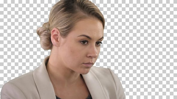 Thumbnail for Portrait of blonde casual businesswoman at work in office,