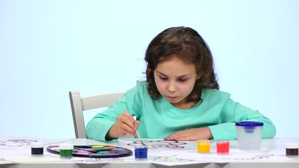 Thumbnail for Children Paint a Picture with Pencils and Admire Their Work,  White Background