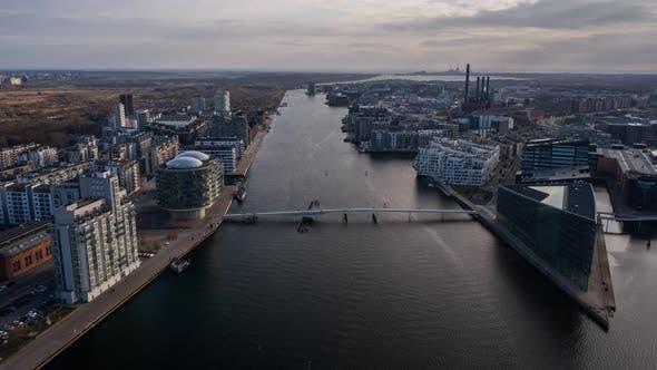 Cover Image for Drone Flight Over City And Bridge Of Copenhagen