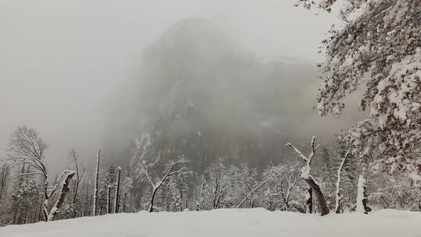 Thumbnail for Time lapse of a snowy winter landscape in Yosemite National Park