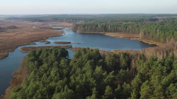 View From the Height of the Lake Papernya in Belarus