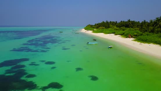 Thumbnail for Wide angle drone clean view of a sunshine white sandy paradise beach and aqua blue ocean background