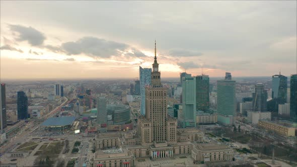 Thumbnail for Busy Warsaw City Centre with Palace of Culture and Science and Other New Skyscrapers in the View