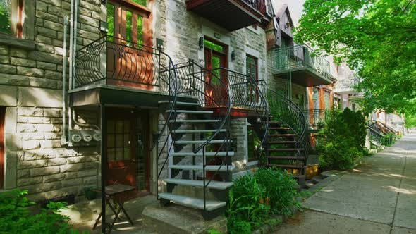 Thumbnail for Houses with external iron stairs, in Montreal