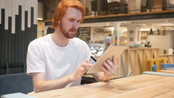 Thumbnail for Online Shopping on Tablet PC by Man in Cafe, Credit Card