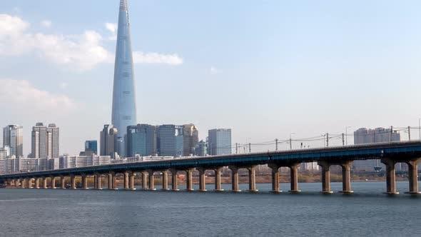 Timelapse Heavy Traffic on Modern Seoul Bridge on Day