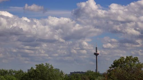 Tower Of Europe In Frankfurt And Clouds