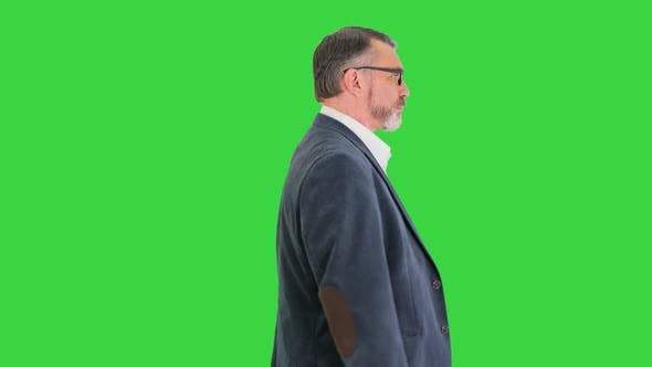 Thumbnail for Senior Business Man Walking Forward on a Green Screen Chroma Key