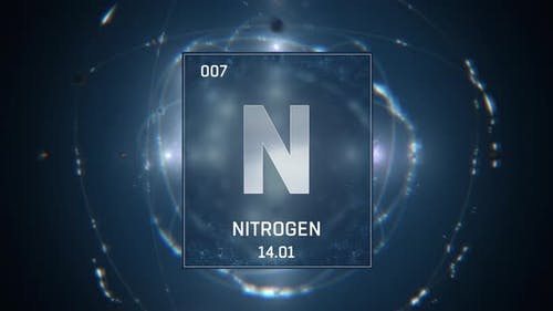 Nitrogen as Element 7 of the Periodic Table on Blue Background