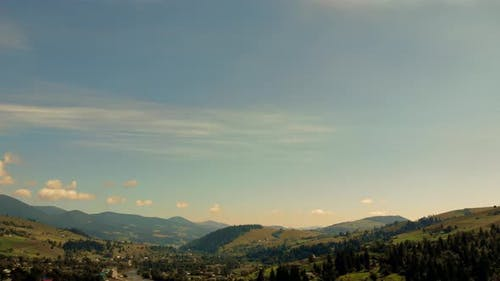 Panorama of a Countryside in Mountains