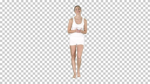 Thumbnail for Woman in White Sport Clothes Holding a Paper Cup of Coffee