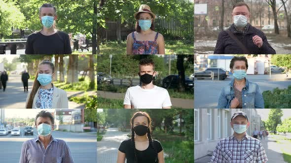 Thumbnail for Different People in Medical Masks on the Street