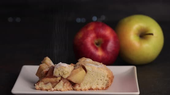 Thumbnail for Sifting sugar on apple pie slice