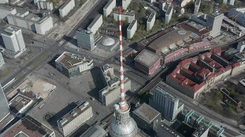 AERIAL: Slow Flight Over Spree River in Berlin, Germany with View on Alexanderplatz TV Tower on