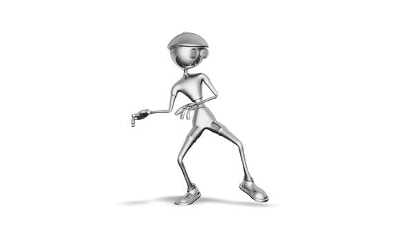 3D Silver Man Dance  Looped on White