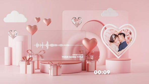 Visualizador de música y podcast de San Valentín
