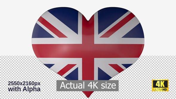 United Kingdom Flag Heart Spinning