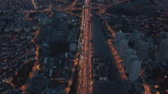 Thumbnail for Long Highway or Freeway at Night in Istanbul Financial District City Endless Intro the Distance with