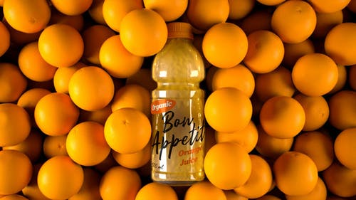 Orange Juice Bottle Label Mockup 4K