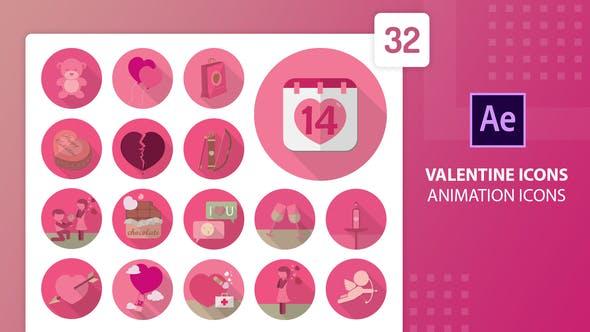 Íconos de animación de san valentín   After Effects
