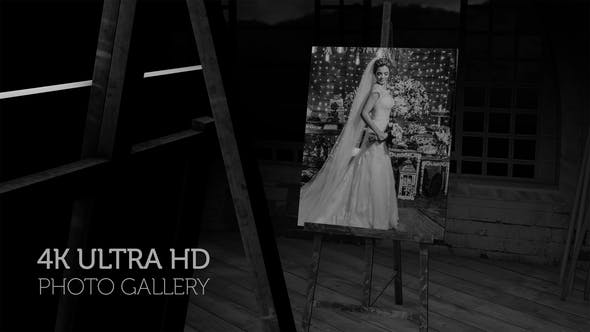 Black and White Photo Gallery in an Art Studio at night