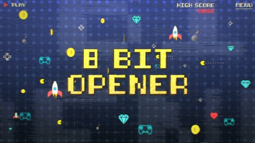 8 Bit Old Game Opener and Title