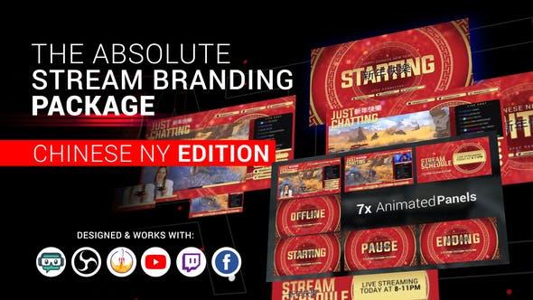 Stream-Branding-Paket. Stream-Overlays. Chinesische Neujahrs-Edition.
